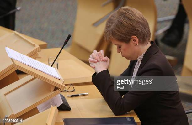 Nicola Sturgeon, MSP First Minister, attends Scottish Parliament at Holyrood to announce new Coronavirus restrictions for Scotland on October 7, 2020...