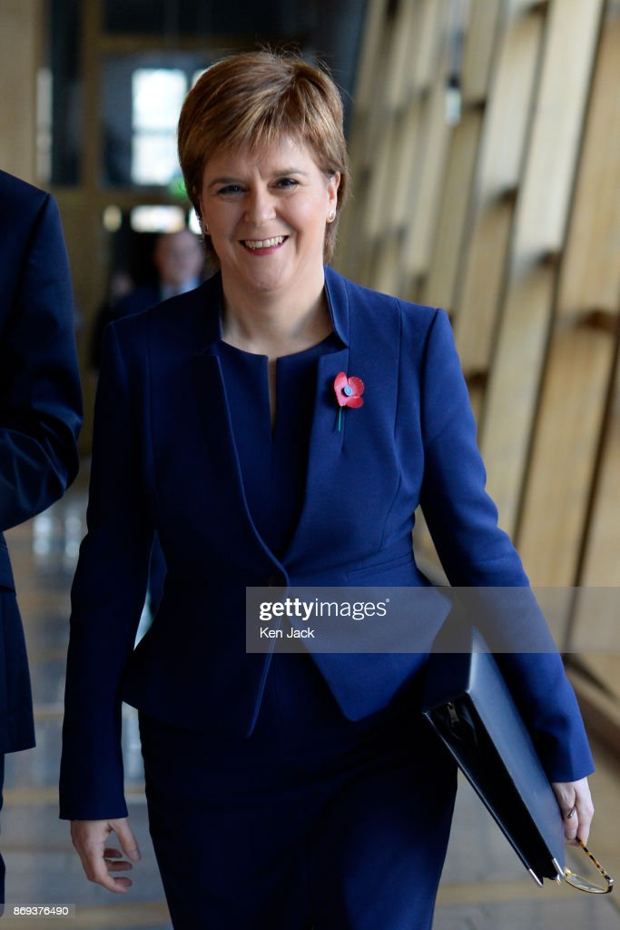 Nicola Sturgeon on her way to First Minister's Questions in the Scottish Parliament, on November 2, 2017 in Edinburgh, Scotland.