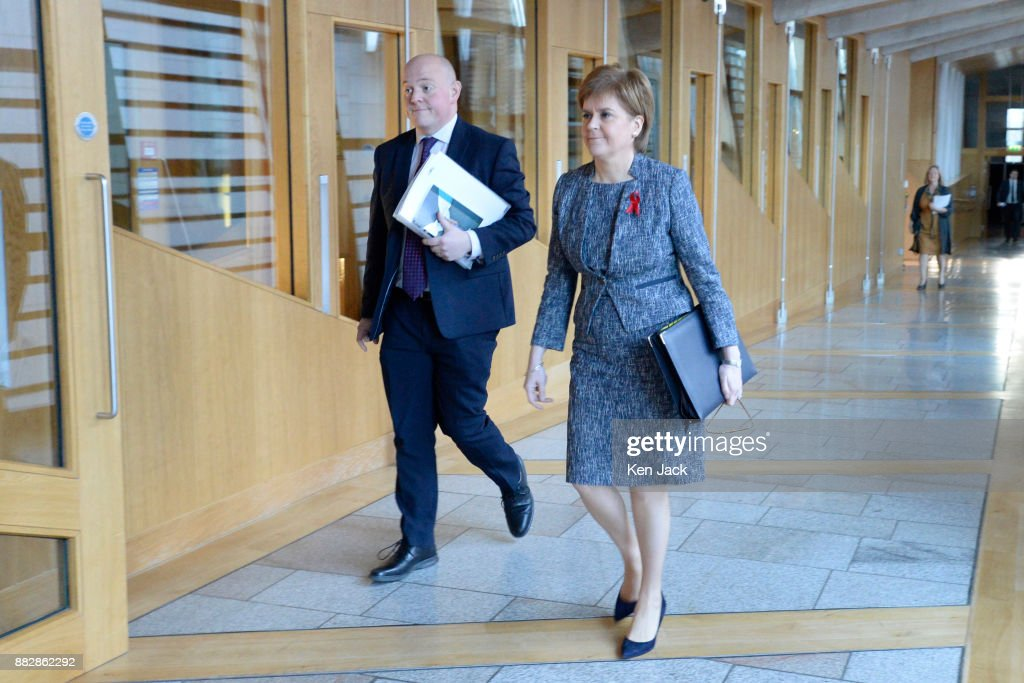 Nicola Sturgeon on the way to First Minister's Questions in the Scottish Parliament, on November 30, 2017 in Edinburgh, Scotland.