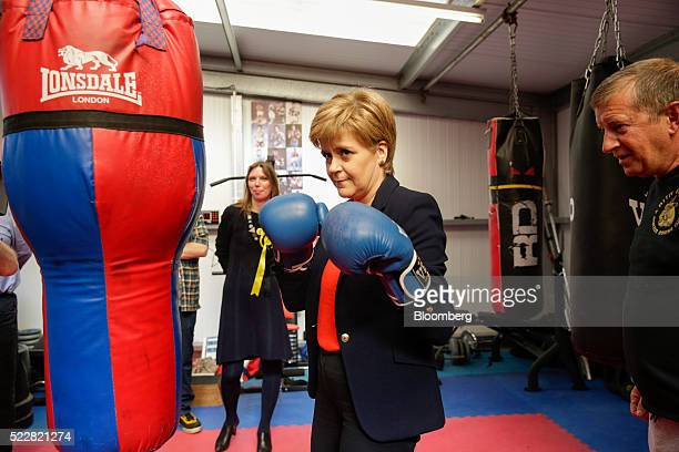 Nicola Sturgeon Scotland's first minister and leader of the Scottish National Party boxes a punchbag at the Summerhill Community Centre as she...