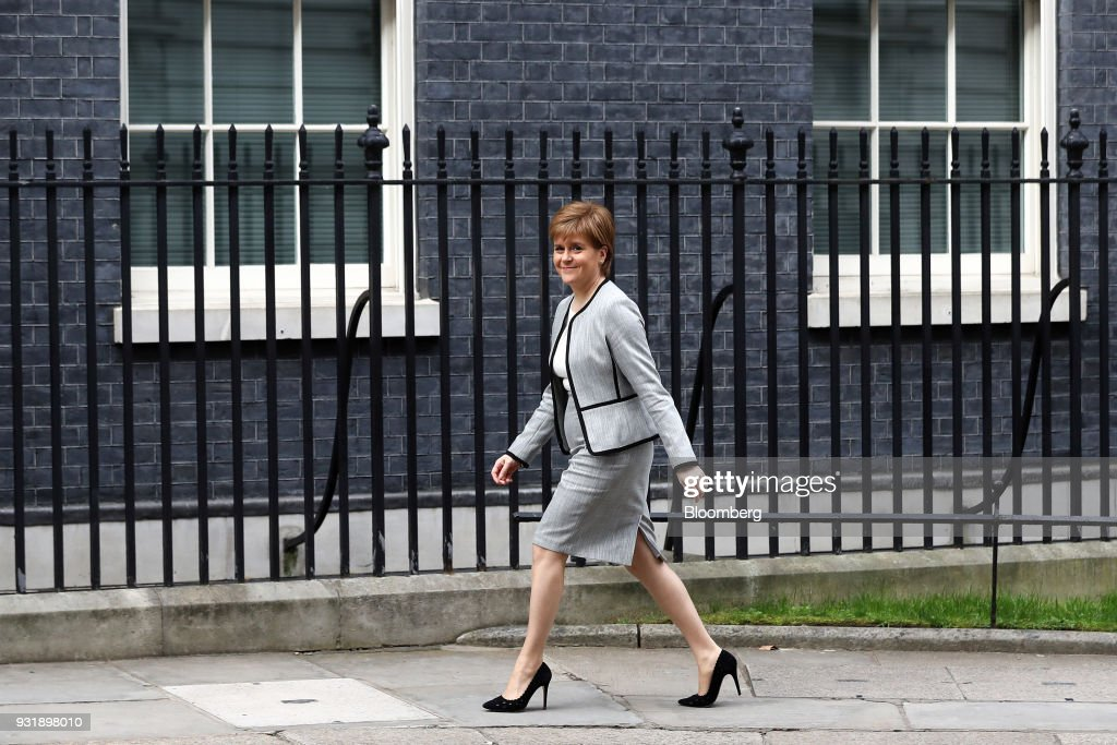 Nicola Sturgeon, Scotland's first minister, arrives at number 10 Downing Street in London, U.K., on Wednesday, March 14, 2018. U.K. prime minister Theresa Maywill set out how she aims to retaliate against Russia over the nerve agent attack on a former spy and his daughter, deepening tensions betweenVladimir Putinand the West. Photographer: Simon Dawson/Bloomberg via Getty Images