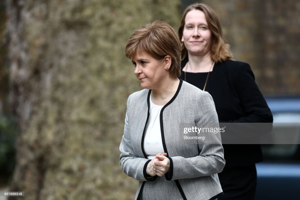 Nicola Sturgeon, Scotland's first minister, arrives at number 10 Downing Street in London, U.K., on Wednesday, March 14, 2018. U.K. prime minister Theresa May will set out how she aims to retaliate against Russia over the nerve agent attack on a former spy and his daughter, deepening tensions between Vladimir Putin and the West. Photographer: Simon Dawson/Bloomberg via Getty Images