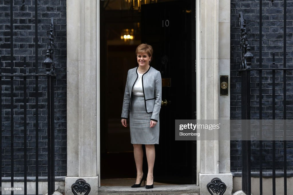 Nicola Sturgeon, Scotland's first minister, poses outside number 10 Downing Street in London, U.K., on Wednesday, March 14, 2018. U.K. prime minister Theresa Maywill set out how she aims to retaliate against Russia over the nerve agent attack on a former spy and his daughter, deepening tensions betweenVladimir Putinand the West. Photographer: Simon Dawson/Bloomberg via Getty Images