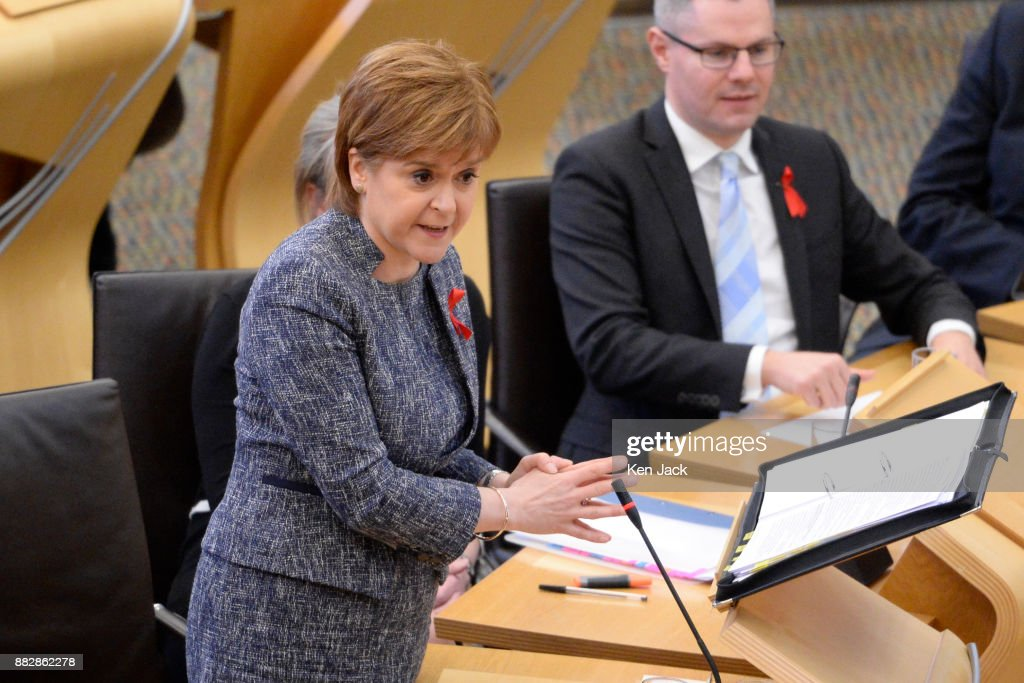 Nicola Sturgeon speaking during First Minister's Questions in the Scottish Parliament, on November 30, 2017 in Edinburgh, Scotland.
