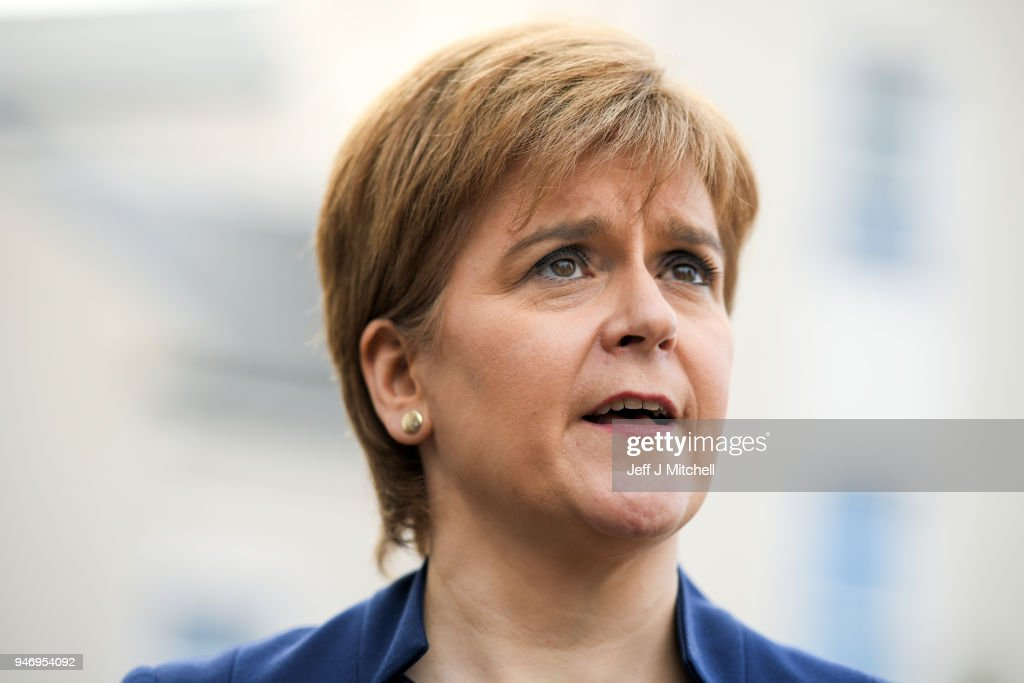 Nicola Sturgeon talks with the media as she departs from the Scottish Trade Union Congress on March 16, 2018 in Aviemore, Scotland. Trade Unionists are gathering for the STUC 121st Annual Congress being held at the Macdonald Resort from 16th to the 18th of April.
