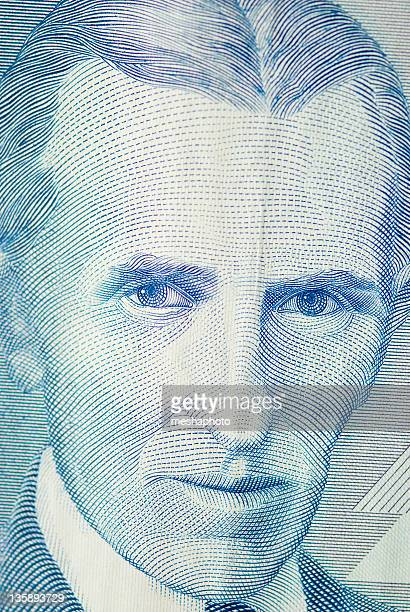 nicola tesla inventor portrait - nikola tesla stock photos and pictures