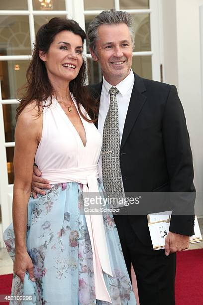 Nicola Tiggeler and her husband Timothy Peach during the 'Die Goldene Deutschland' Gala on July 26 2015 at Cuvillies Theater in Munich Germany