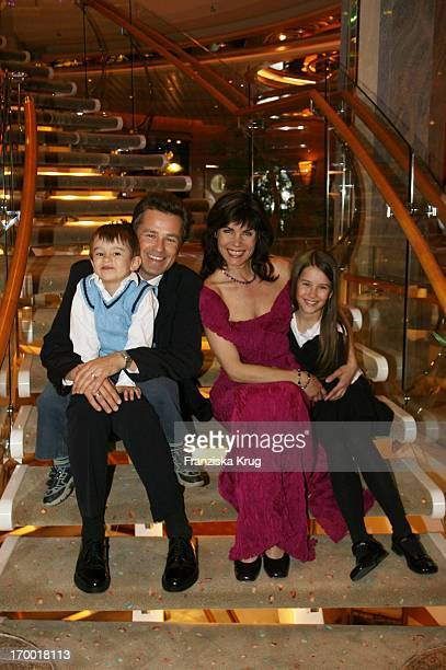 Nicola Tiggelerhusband Timothy Peach and kids Tiffany and Nelson at The Freedom Of The Seas In Hamburg port 240406