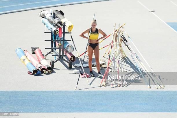 Nicola Tolcon of Western Australia prepares to compete in the Women's Under 17 Pole Vault during day two of the Australian Junior Athletics...