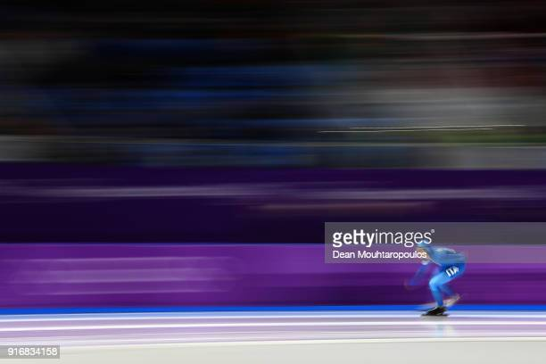 Nicola Tumolero of Italy competes during the Men's 5000m Speed Skating event on day two of the PyeongChang 2018 Winter Olympic Games at Gangneung...