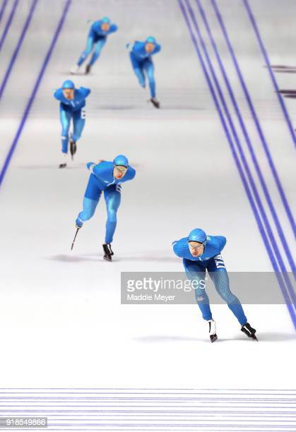 Nicola Tumolero of Italy competes during the Speed Skating Men's 10,000m on day six of the PyeongChang 2018 Winter Olympic Games at Gangneung Oval on...