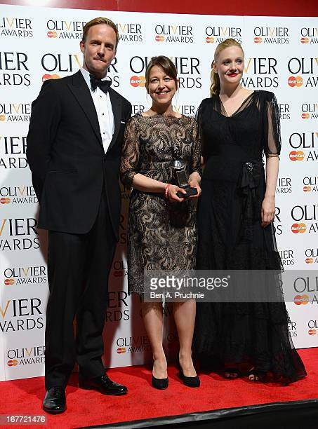 Nicola Walker with the Best Actress in a Supporting Role award with Rupert Penry Jones and Romola Garai during The Laurence Olivier Awards at the...
