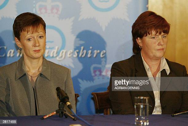 Nicola Wells and Sharon Chapman listen to a question during a press conference after Ian Huntley was sentenced to two life terms in prison for...