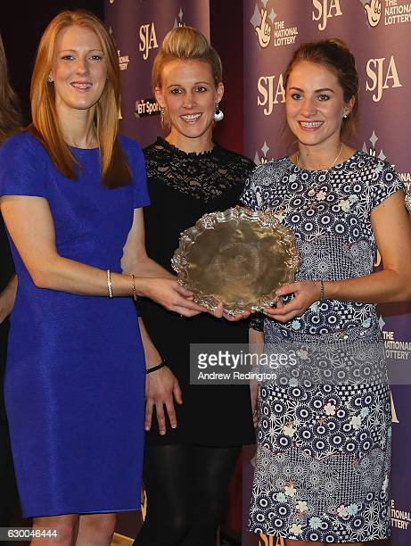 Nicola White Alex Danson and Laura Unsworth are pictrured with the the SJA Sports Team of the Year trophyduring The SJA British Sports Awards 2016 at...