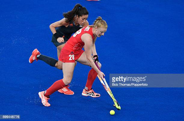 Nicola White in action for Great Britain during the Women's Hockey Gold medal match between The Netherlands and Great Britain on Day 14 of the Rio...