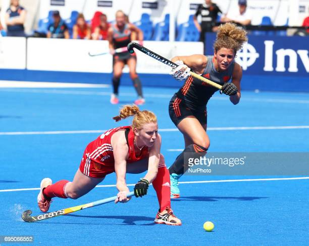 Nicola White of England during the Investec International match between England Women and Netherlands Women at The Lee Valley Hockey and Tennis...