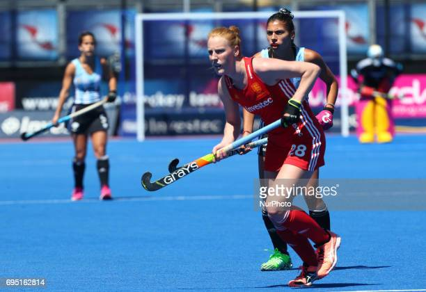 Nicola White of England during the Investec International match between England Women and Argentina Women at The Lee Valley Hockey and Tennis Centre...
