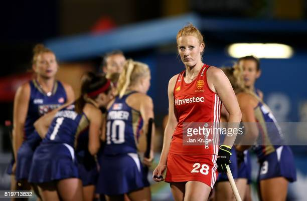 Nicola White of England looks at the big screen during day 7 of the FIH Hockey World League Women's Semi Finals semi final match between England and...