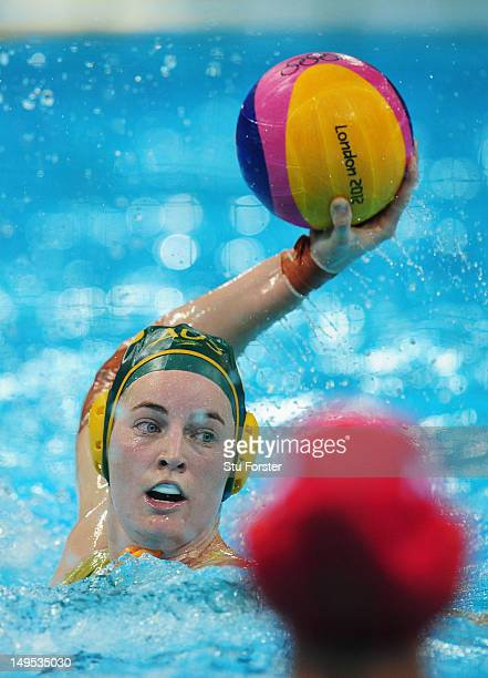 Nicola Zagame of Australia looks for a pass during the Women's Water Polo Preliminary match between Italy and Australia on Day 3 of the London 2012...