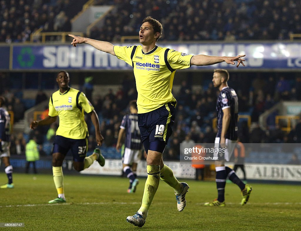 Nicola Zigic of Birmingham celebrates after scoring their third goal of the game during the Sky Bet Championship match between Millwall and Birmingham City at The Den on March 25, 2014 in London, England.