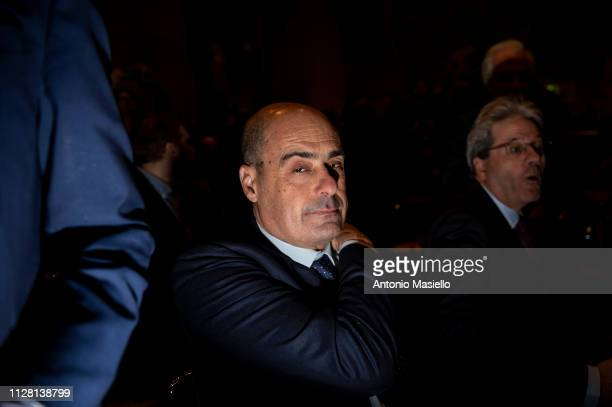 Nicola Zingaretti attends a meeting for the upcoming primary elections of the Italian centreleft Democratic Party leadership on February 28 2019 in...