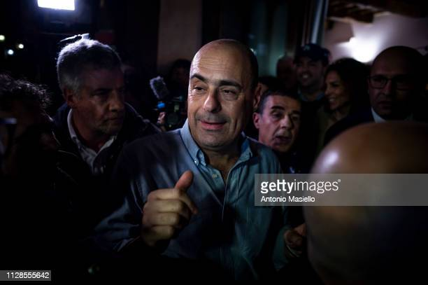 Nicola Zingaretti attends a press conference after the victory in the primary elections of the Italian centreleft Democratic Party leadership on...