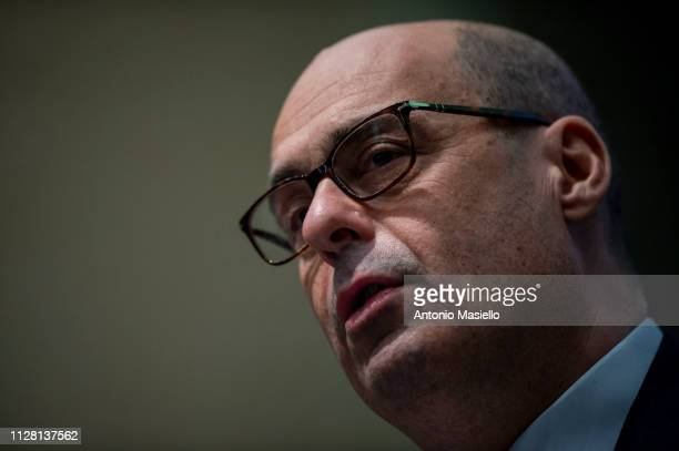 Nicola Zingaretti delivers his speech during a meeting for the upcoming primary elections of the Italian centreleft Democratic Party leadership on...