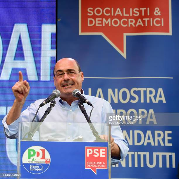 Nicola Zingaretti National Secretary of the Democratic Party makes a speech to the demonstration of the Democratic Party ahead of the European...