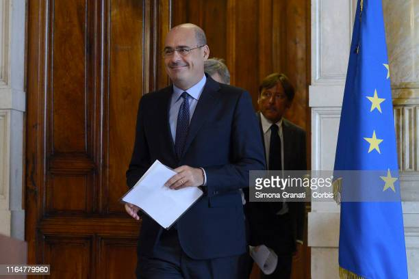 Nicola Zingaretti of Democratic Party speaks to the press at the end of the interview with Giuseppe Conte in charge of forming the new governmenton...