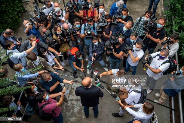 Nicola Zingaretti President of the Lazio region and Secretary of Democratic Party speaks to the media during a political meeting to celebrate the...