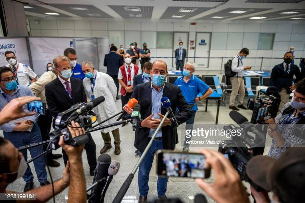 Nicola Zingaretti President of the Lazio region attends a press conference during rapid antigenic tests for Covid-19 to passengers arriving from...