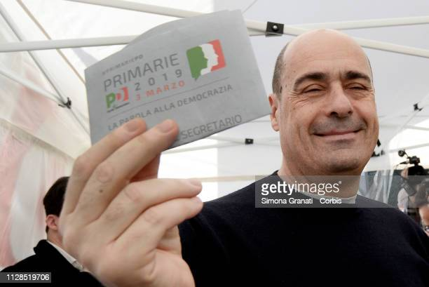 Nicola Zingaretti the favourite candidate for the leadership of the Democratic Party votes in a gazebo in Piazza Mazzini for the leader of the...