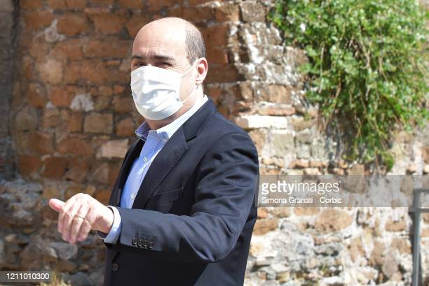 Nicola Zingaretti wears a protective mask during the celebration of the 75th anniversary of the liberation from Nazi-Fascism at Porta San Paolo...