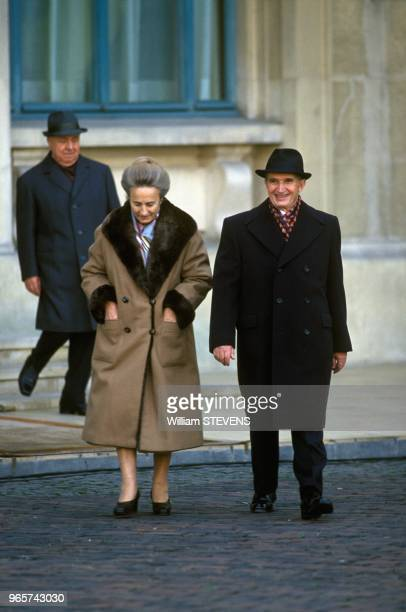 Nicolae Ceaucescu And Wife Elena Outside Presidential Palace Bucharest November 24 1989