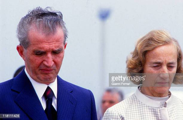 Nicolae Ceaucescu Romania's president from 1967 to 1989 with his wife Elena on his visit to Spain Madrid Spain GerttyImages