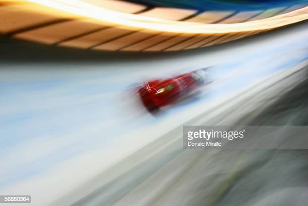 Nicolae Istrate and Adrian Duminicel of Romania compete in the Two Man Bobsleigh event on Day 8 of the 2006 Turin Winter Olympic Games on February 18...