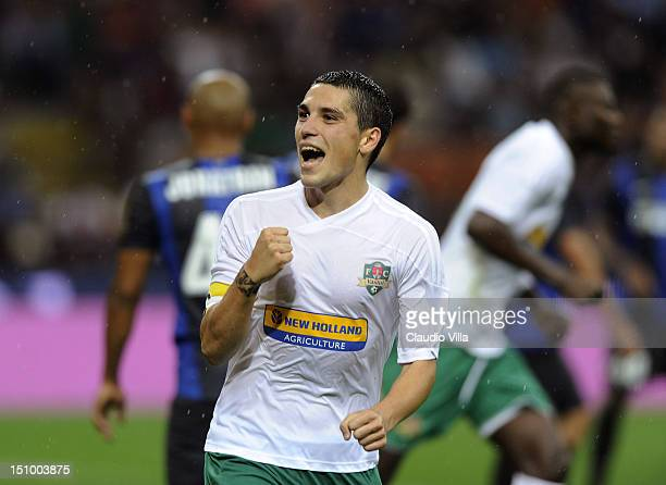 Nicolae Stanciu of FC Vaslui celebrates after scoring the opening goal of the UEFA Europa League play-off second leg match between FC Internazionale...