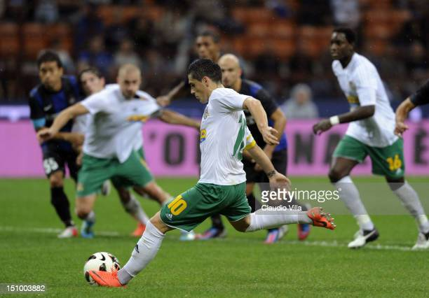 Nicolae Stanciu of FC Vaslui scores the opening goal of the UEFA Europa League play-off second leg match between FC Internazionale Milano and FC...