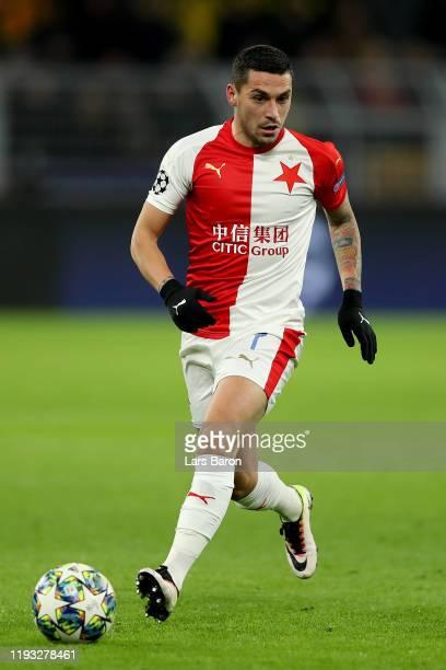 Nicolae Stanciu of PRaha runs with the ball during the UEFA Champions League group F match between Borussia Dortmund and Slavia Praha at Signal Iduna...