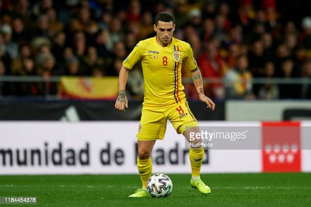 Nicolae Stanciu of Romania in action during the UEFA Euro 2020 Qualifier between Spain and Romania on November 18, 2019 in Madrid, Spain.
