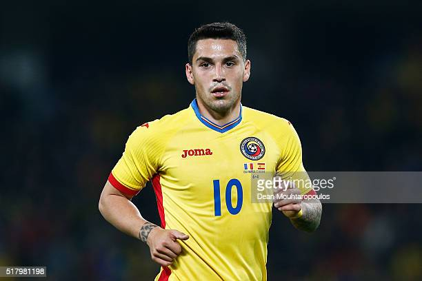 Nicolae Stanciu of Romania looks on during the International Friendly match between Romania and Spain held at the Cluj Arena on March 27 2016 in...