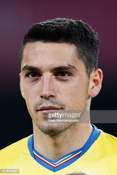 Nicolae Stanciu of Romania looks on prior to the International Friendly match between Romania and Spain held at the Cluj Arena on March 27, 2016 in...
