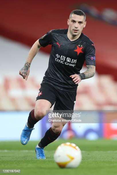 Nicolae Stanciu of Slavia during the UEFA Europa League Quarter Final First Leg match between Arsenal FC and Slavia Praha at Emirates Stadium on...