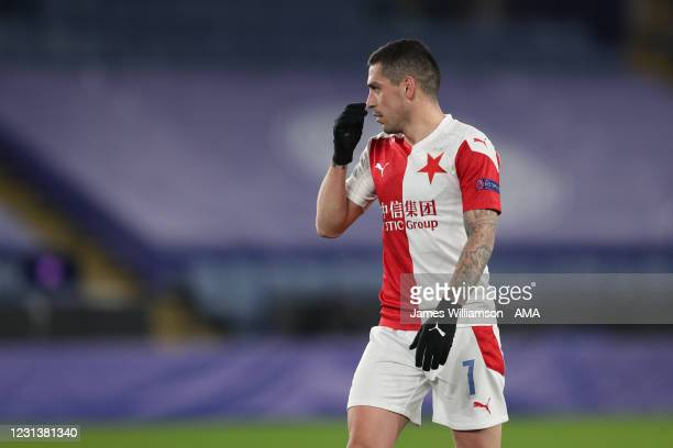 Nicolae Stanciu of Slavia Prague during the UEFA Europa League Round of 32 match between Leicester City and Slavia Praha at The King Power Stadium on...