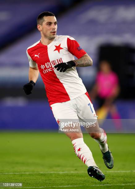 Nicolae Stanciu of Slavia Prague during the UEFA Europa League Round of 32 match between Leicester City and Slavia Praha at on February 25, 2021 in...
