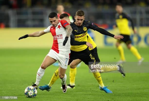 Nicolae Stanciu of Slavia Praha and Thorgan Hazard of Borussia Dortmund during the UEFA Champions League group F match between Borussia Dortmund and...