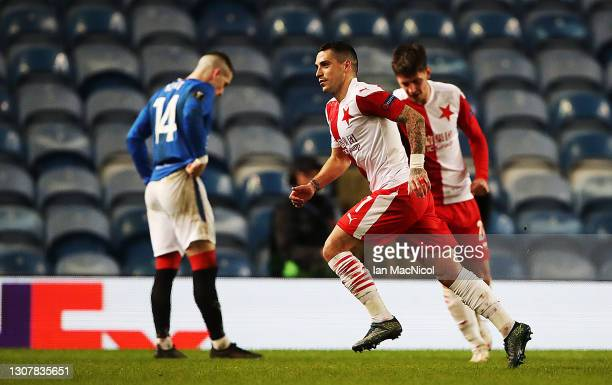 Nicolae Stanciu of Slavia Praha celebrates after scoring their side's second goal during the UEFA Europa League Round of 16 Second Leg match between...