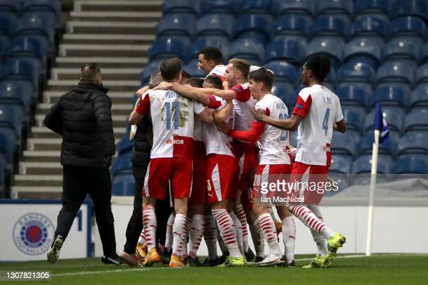 Nicolae Stanciu of Slavia Praha celebrates with his team mates after scoring their side's second goal during the UEFA Europa League Round of 16...