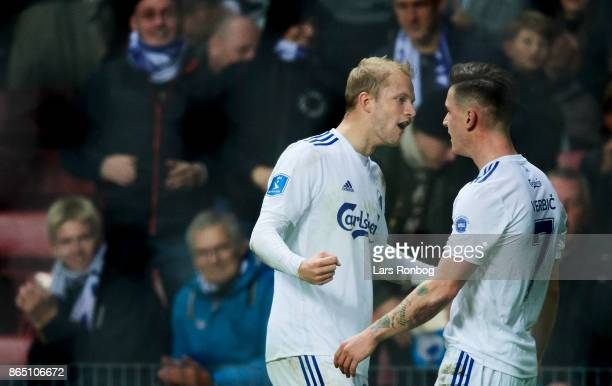 Nicolai Boilesen and Benjamin Verbic of FC Copenhagen celebrate after scoring their third goal during the Danish Alka Superliga match between FC...