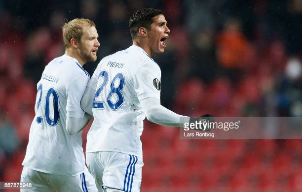 Nicolai Boilesen and Pieros Sotiriou of FC Copenhagen celebrate after scoring their first goal during the UEFA Europa League match between FC...